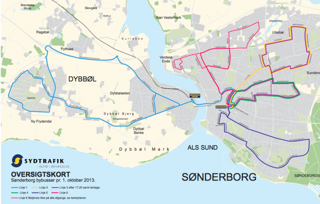 Town bus routes in Sonderborg